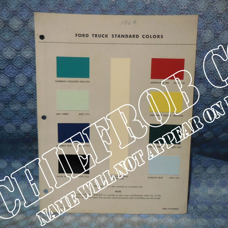 1961 Ford Truck Original OEM Color Sample Chart
