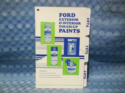 1972 1973 1974 Ford Lincoln Mercury OEM Interior & Exterior Touch up Paint Chart