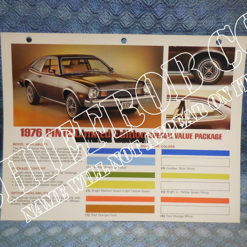 1976 Ford Pinto Limited Edition Value Package Original Salesman Information Card