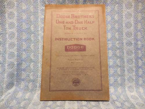 1933 Dodge Truck H-30 & H-31 1-1/2 Ton Models Original Owners Instruction Book
