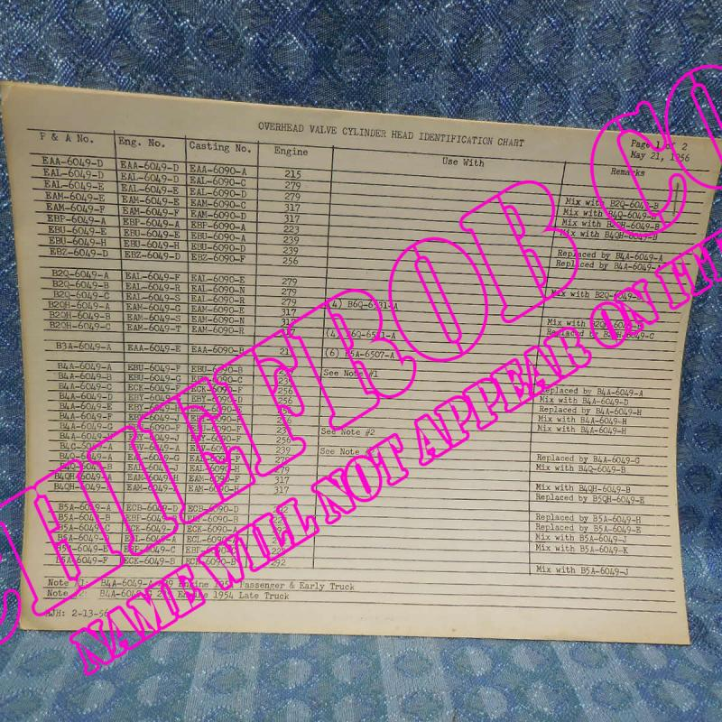 1954-1956 Ford Original Dealer Overhead Valve Cylinder Head & Block ID Chart 55
