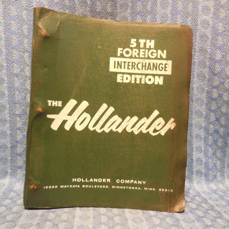 1965-1980 Foreign Car Hollander Interchange Manual 5th Edition See Coverage List