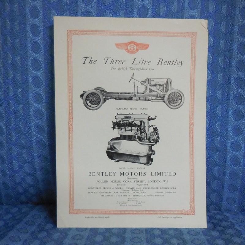 1928 Bentley Three Litre Sales Brochure 1971 Reprint