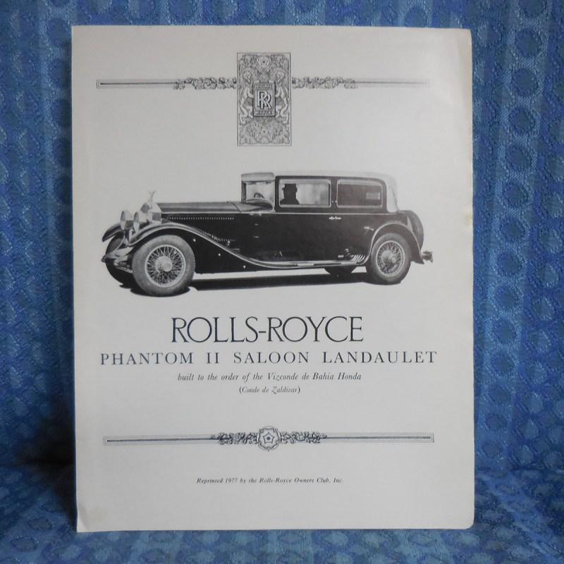 Circa 1930 Rolls-Royce Phantom II Saloon Landaulet Sales Brochure 1977 Reprint