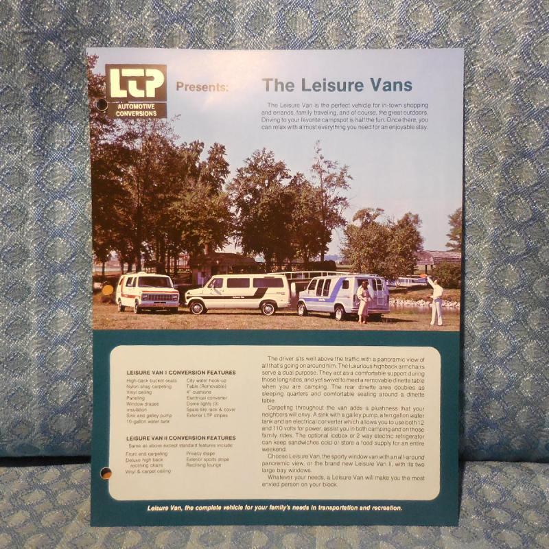 1979 Ford Van Conversion Leisure Van By LTP Original Sales Brochure