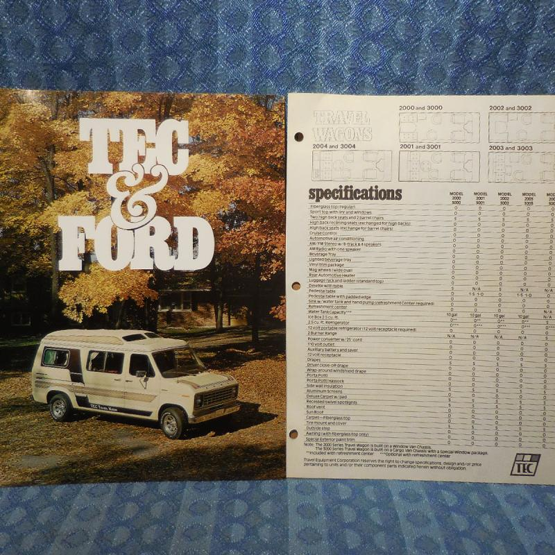 1979 Ford Van Conversion Travel Wagon By TEC Original Sales Flyer & Price Sheet