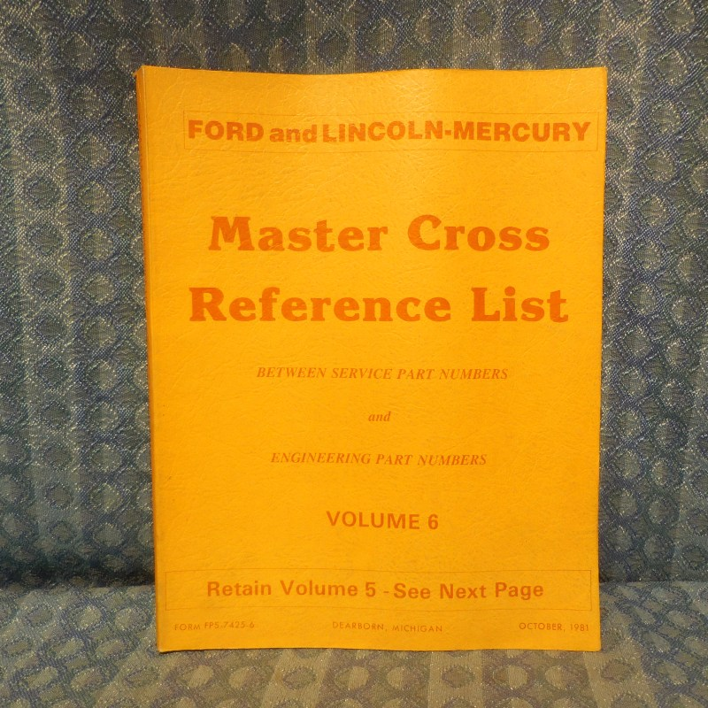 1980-1982 Ford Lincoln Mercury Truck Master Cross Reference List Manual Mustang