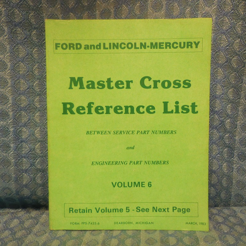 1980-83 Ford Lincoln Mercury Master Cross Reference List Manual Including Truck
