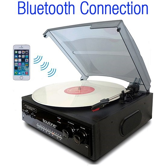 Boytone BT-13B Bluetooth Connection 3 Speed Stereo Turntable Belt Drive 33-45-78