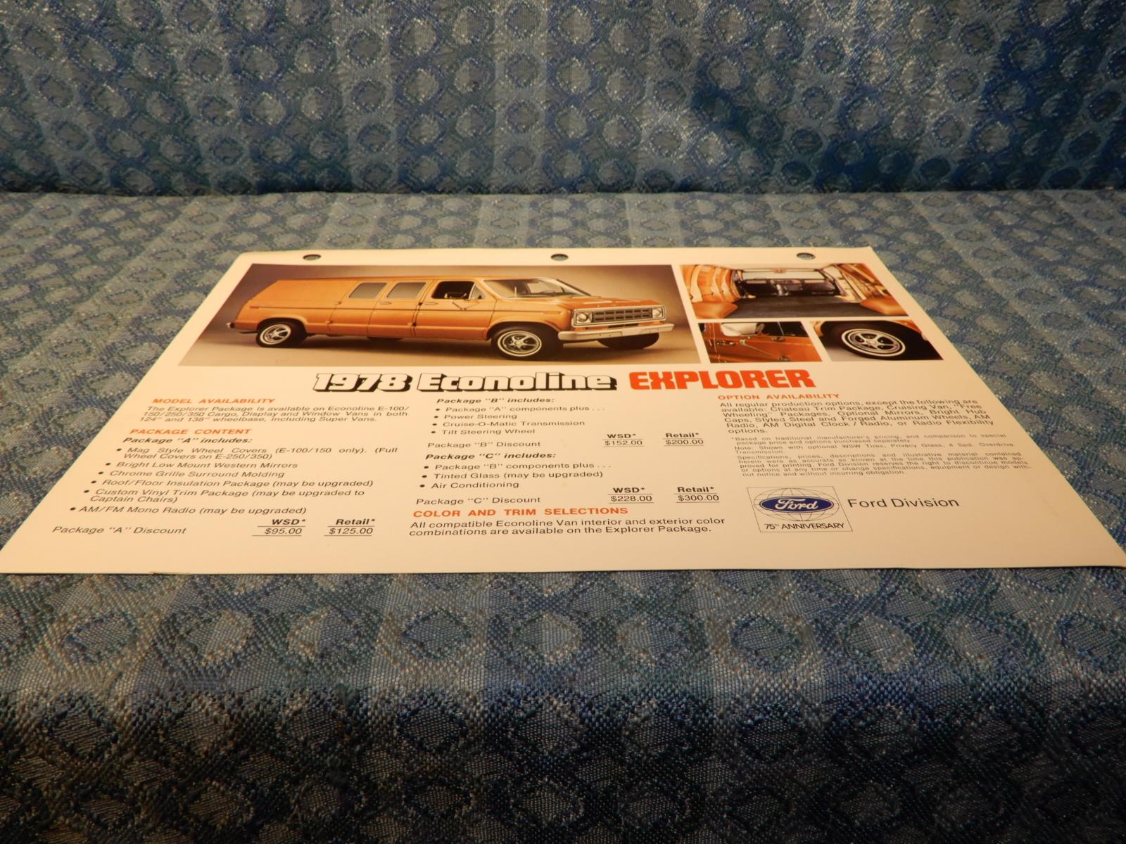 1978 Ford Econoline Explorer Van Original Dealer Sales Card