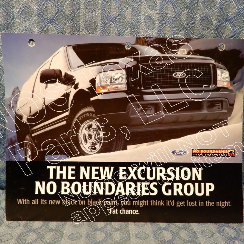 2001 Ford Excursion No Boundaries Sales Group Original Dealer Sales Card