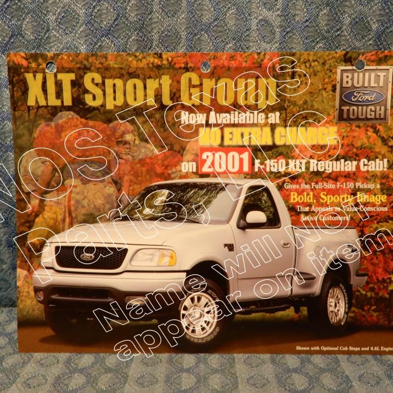2001 Ford Truck XLT Sport Group F-150 Original Dealer Sales Card