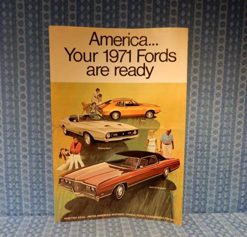 1971 Ford Original Sales Fold Out Poster Mustang Thunderbird LTD Maverick Pinto