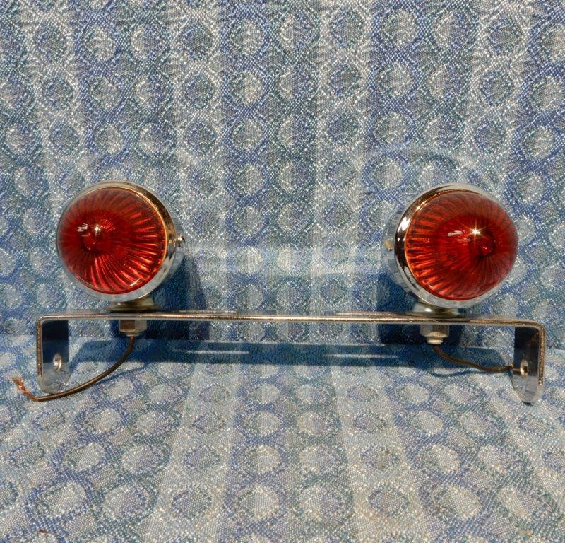 Circa 1960-1975 NORS Chrome Motorcycle Tail Lights w/ Bracket 62 64 66 68 70 72
