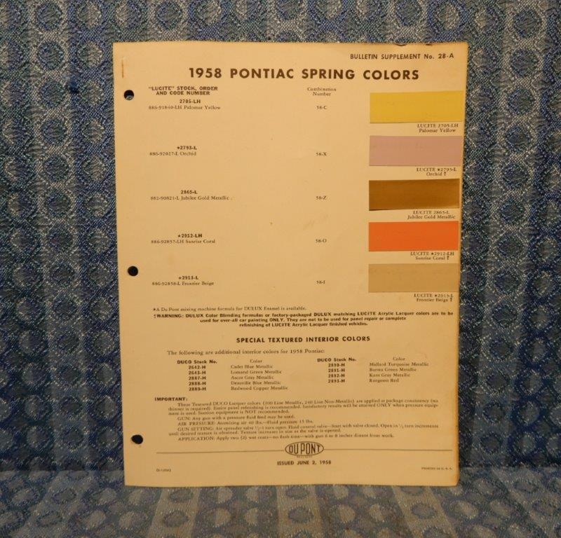 1958 Pontiac Spring Colors Original Paint Color Chip Chart Bonneville Star Chief
