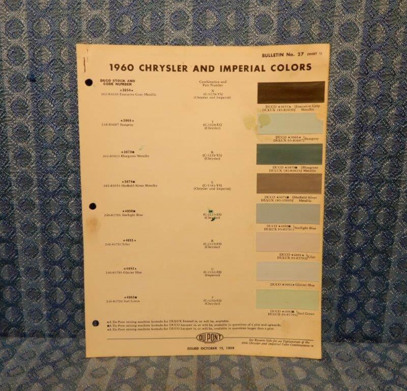 1960 Chrysler & Imperial Original Paint Color Chip Chart 4 pages