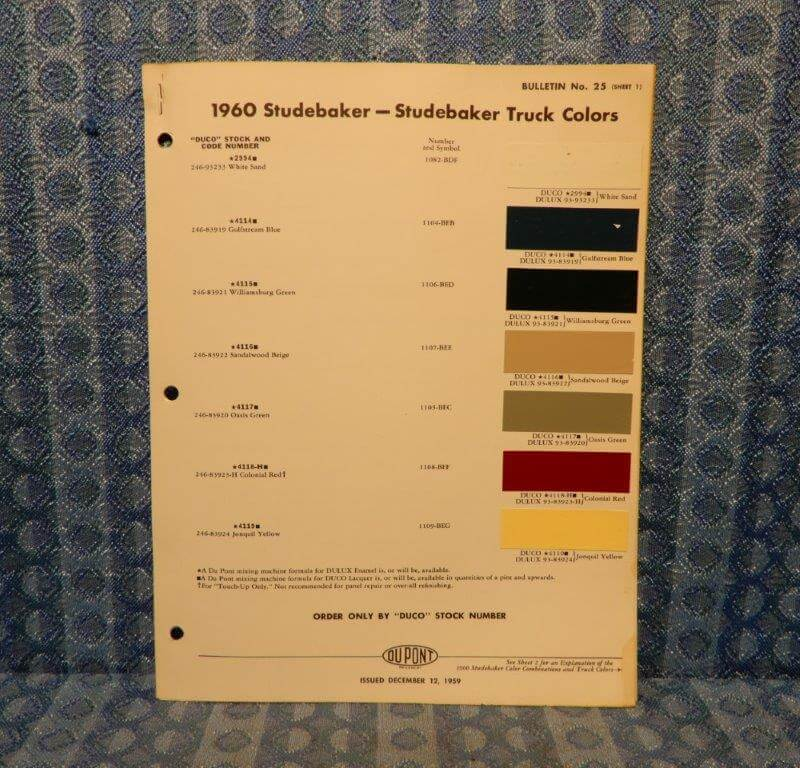 1960 Studebaker & Studebaker Truck Original Paint Color Chip Chart - 2 Pages