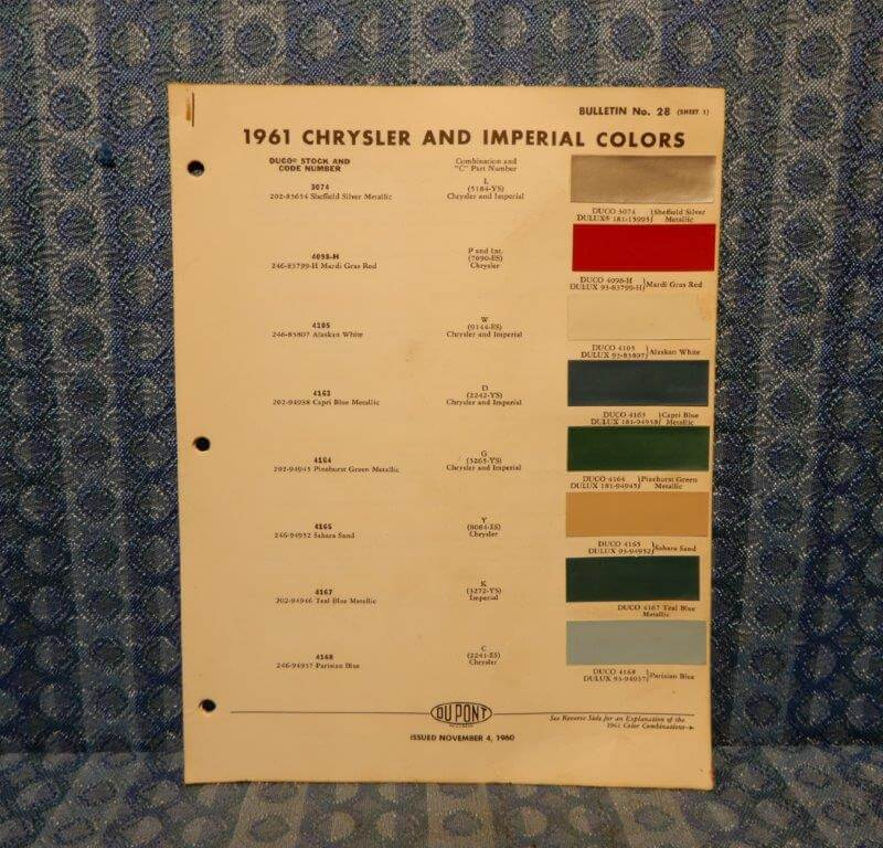 1961 Chrysler & Imperial Original Paint Color Chip Chart 5 pages