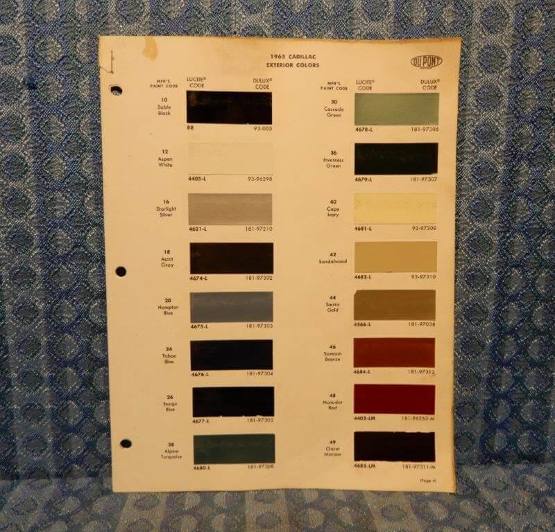 1965 Cadillac Exterior Color Original Paint Chip Chart - 2 Pages