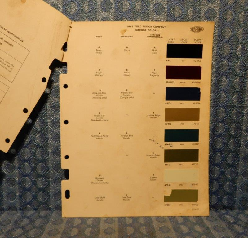 1968 Ford Lincoln Mercury Original Paint Color Chip Chart 5 Pages