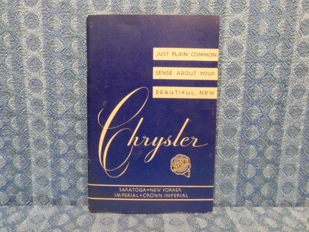 1952 Chrysler Original Owners Manual Saratoga New Yorker Imperial Crown Nos Texas Parts Llc Antique Auto 1949
