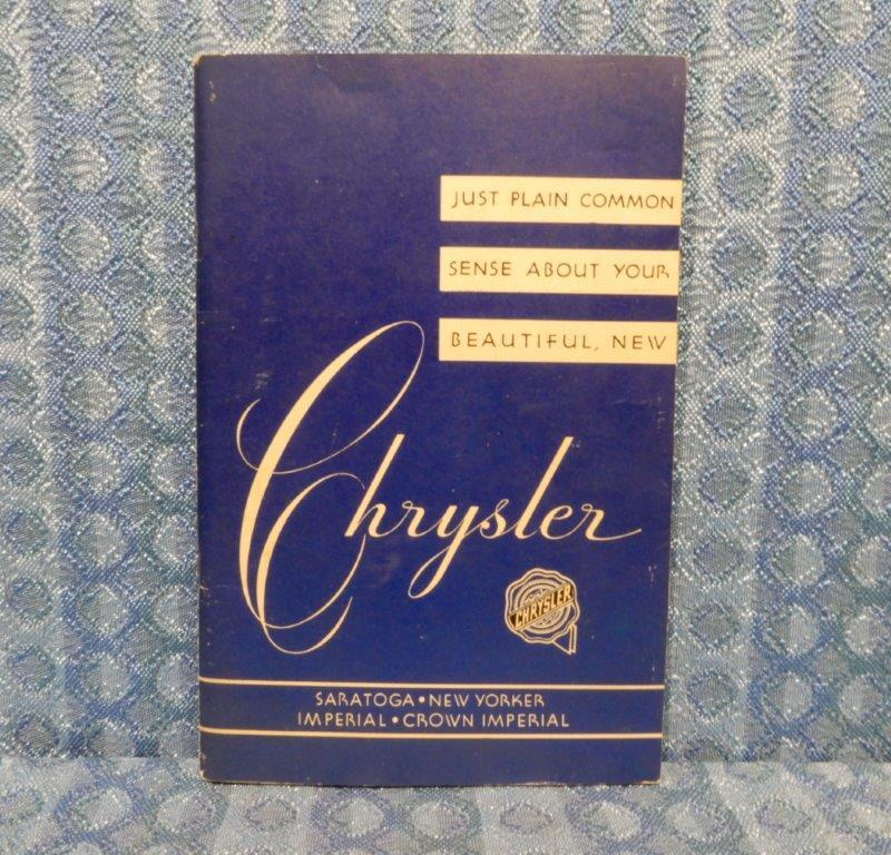1952 Chrysler Original Owners Manual Saratoga New Yorker Imperial Crown Imperial