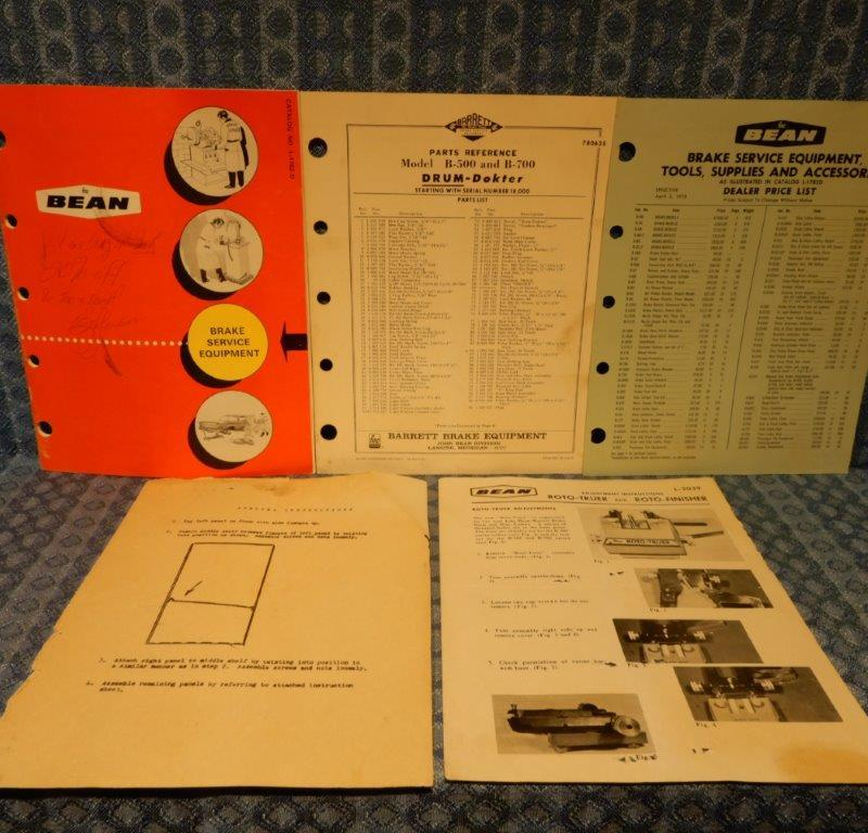 1972 FMC Bean Brake Service Equipment Original Sales Catalog - 5 Piece Lot