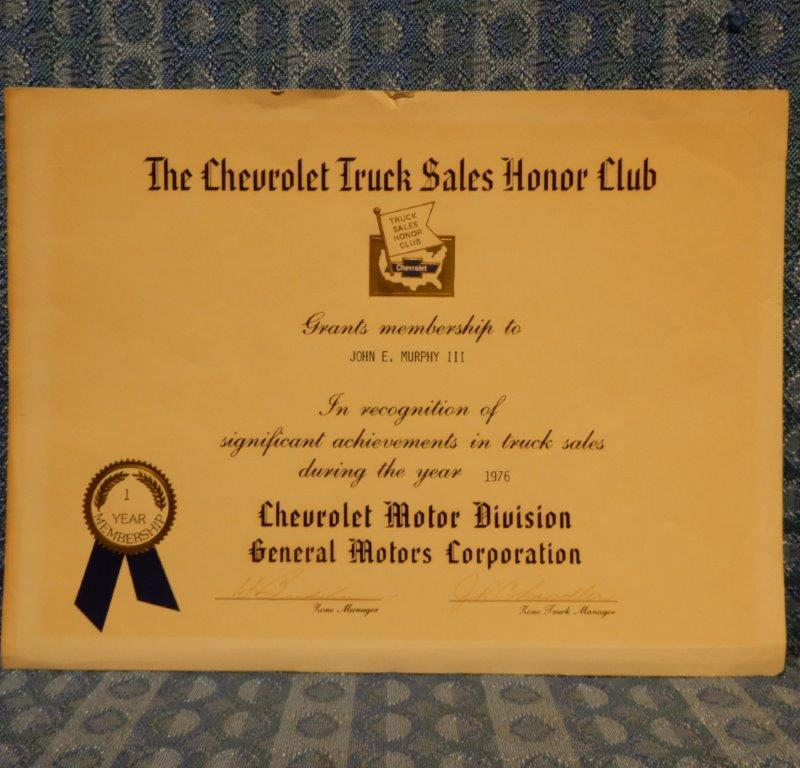 1976 Chevrolet Truck Sales Honor Club Original Certificate