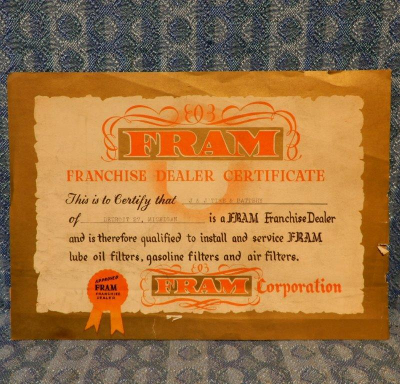 Circa 1955 Fram Original Franchise Dealer Certificate