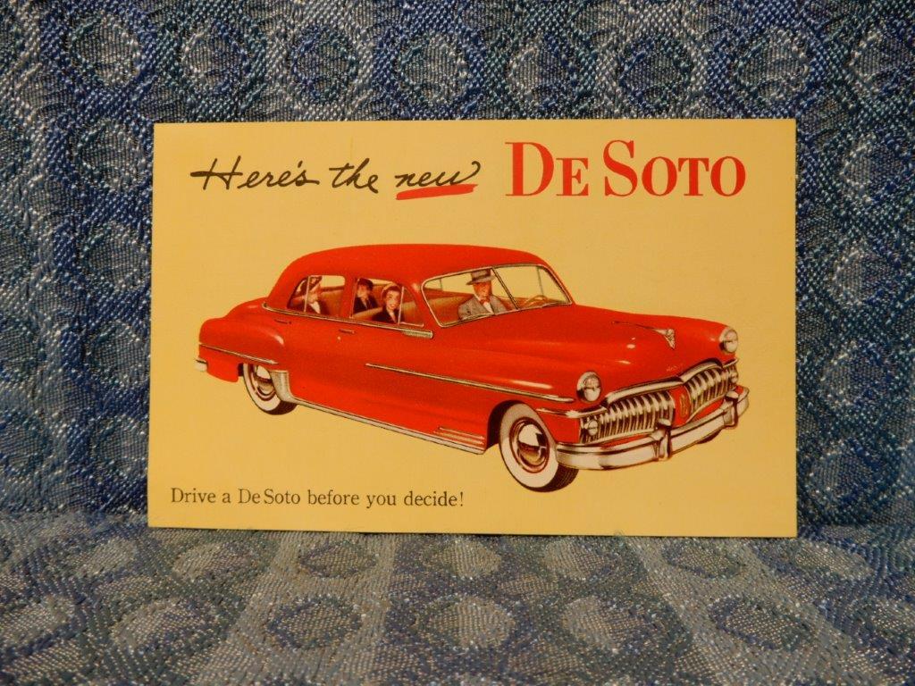 NOS 1950 DeSoto Dealer Factory Promotional Postcard Heres The