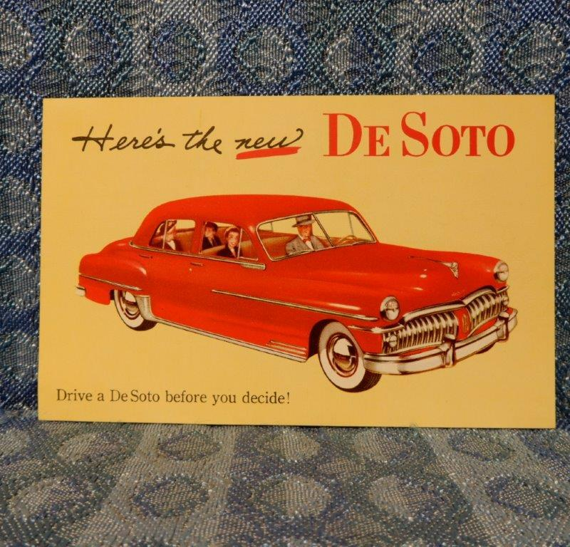 "NOS 1950 DeSoto Dealer / Factory Promotional Postcard ""Here's the new DeSoto"""