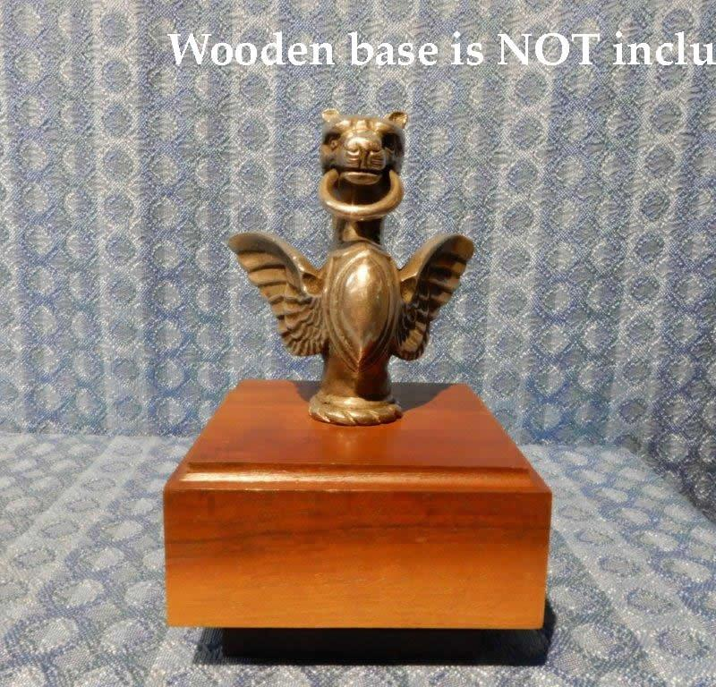 1915-1930 Automobile Original Figural Gargoyle Radiator Mascot - Plated Brass