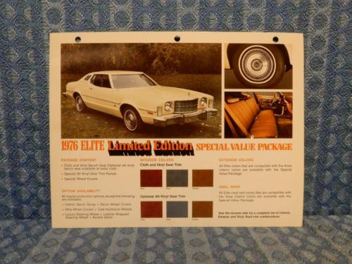 1976 Ford Elite Limited Edition Original Salesmans Information Card