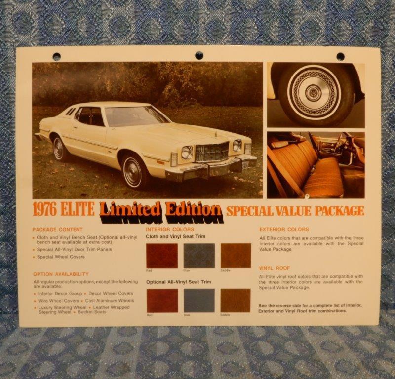 1976 Ford Elite Limited Edition Original Salesmans Information Card