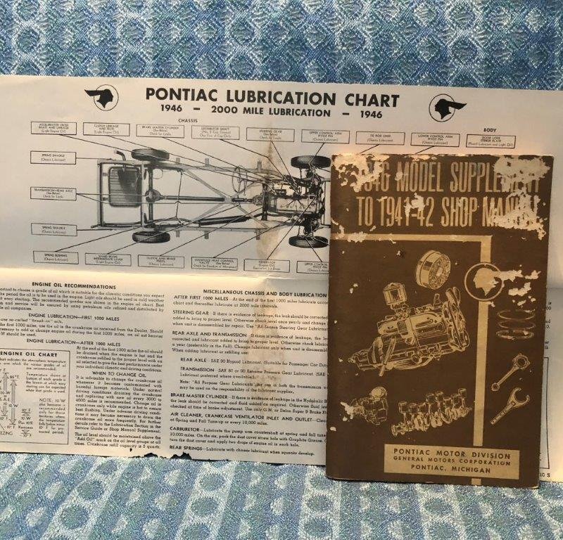 1946 Pontiac 6 & 8 cyl Original Shop Manual Supplement with Lube Chart
