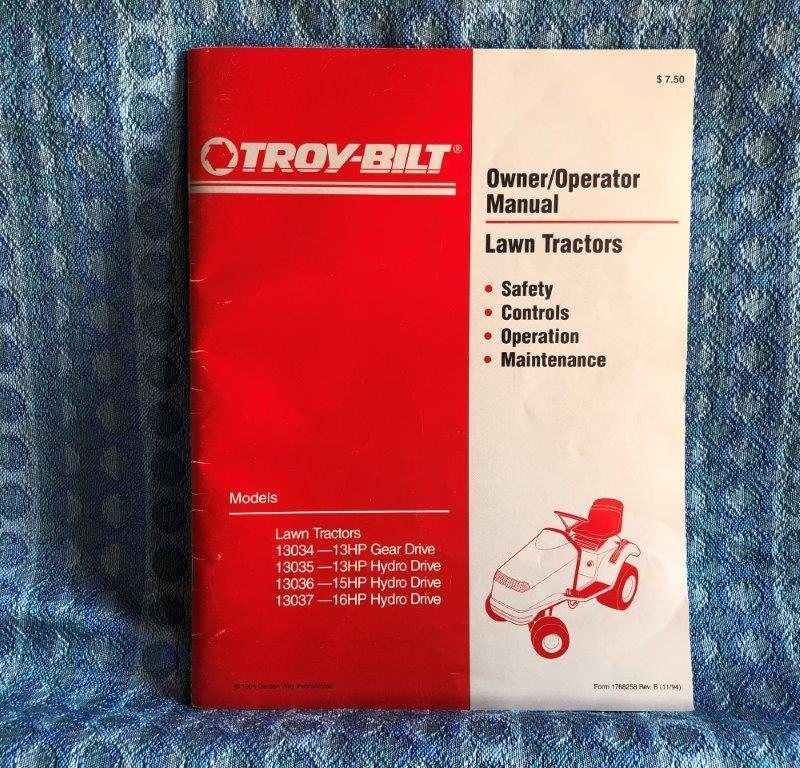 1994 Troy-Bilt Lawn Tractor 13034 13035 13036 13037 Owners / Operators Manual