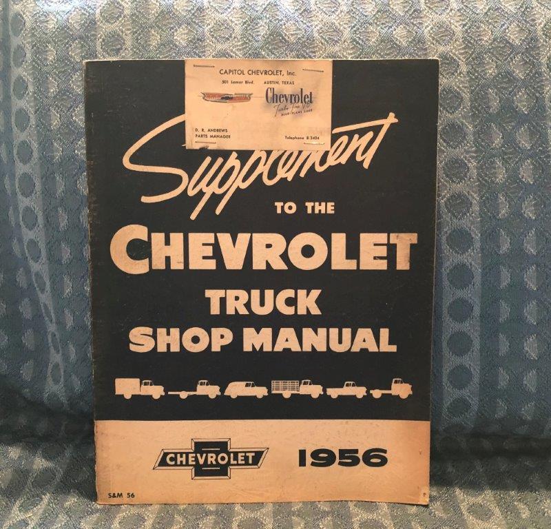 1956 Chevrolet Truck ORIGINAL Shop Manual Supplement