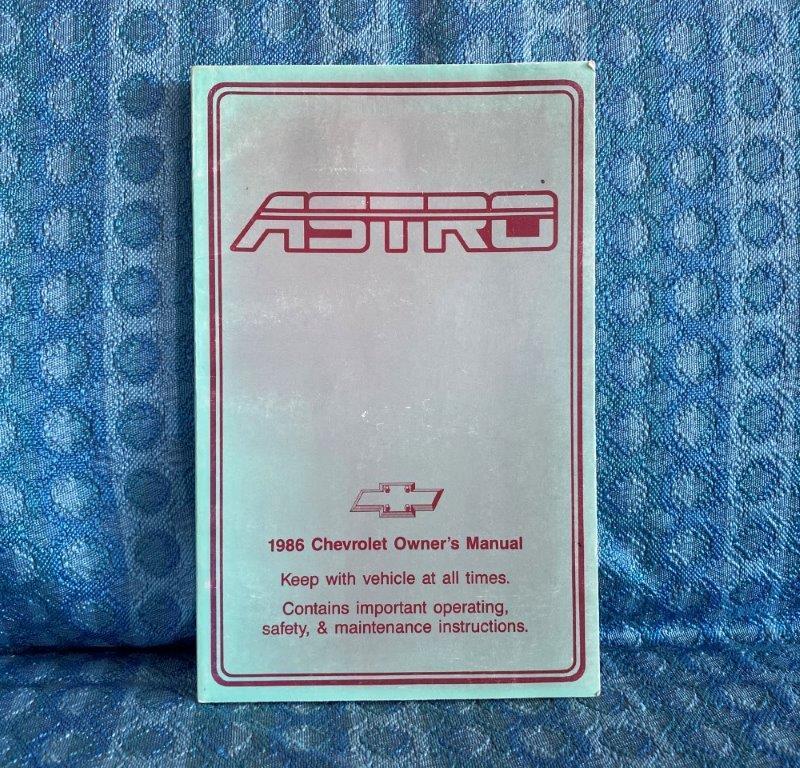 1986 Chevrolet Astro Van Original Owners Manual