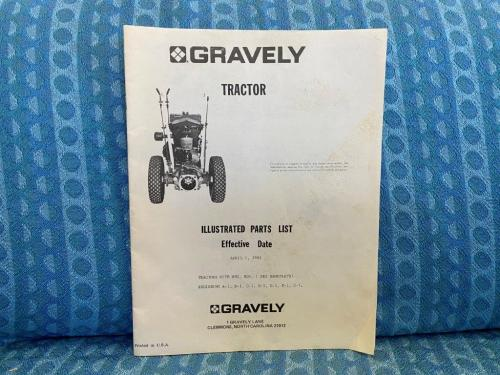 1963 Gravely Tractor Original Illustrated Parts List Mfg #s A-1 Thru G-1