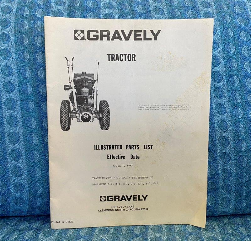 1963 Gravely Tractor Original Illustrated Parts List Mfg #s A-1 Thru G-1