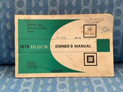 1974 Buick Century 350, Regal, Century Luxus Original Owners Manual
