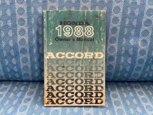 Original Owners Manual For 1988 Honda Accord