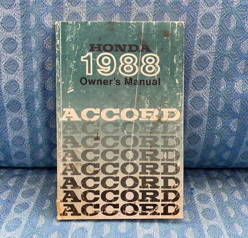 Original Owners Manual For 1988 Honda Accord