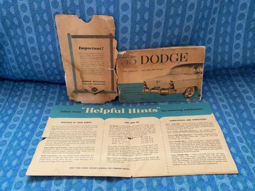 1955 Dodge Original Owners Manual with Envelope & Sun Visor Sleeve 3 Piece Set