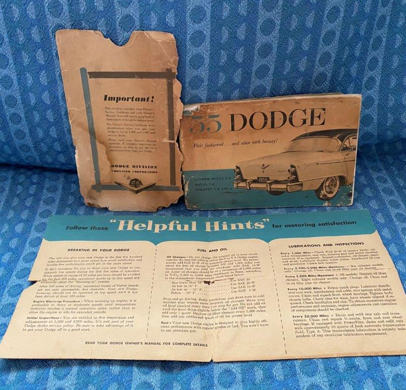 1955 Dodge Original Owners Manual with Envelope & Sun Visor Sleeve 3 Piece Set