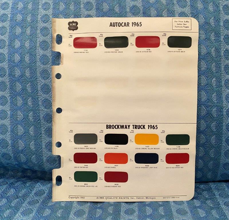 1965 Autocar & Brockway Truck Original Acme Paint Color Chip Chart