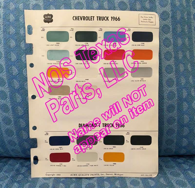 1966 Chevrolet Truck & Diamond T Truck Original Acme Paint Color Chip Chart