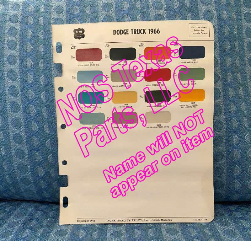 1966 Dodge Truck Original Acme Paint Color Chip Chart Light, Medium, Heavy Duty