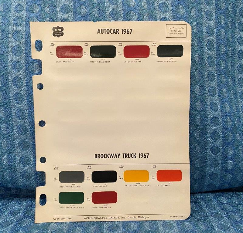 1967 Autocar & Brockway Truck Original Acme Paint Color Chip Chart