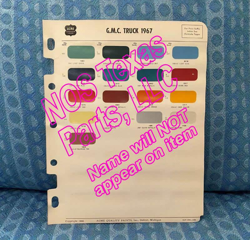 1967 GMC Truck Original Acme Paint Color Chip Chart Light, Medium, Heavy Duty